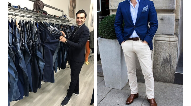 Denim showrooms and Jacob Cohen cream jeans and navy sport jacket