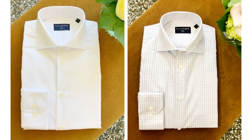 CLUSIER shirts white & grey gingham