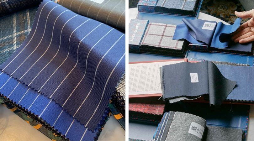 fabric choices for made to measure suiting at CLUSIER