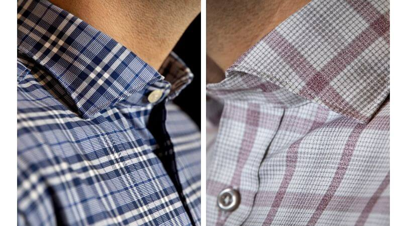 CLUSIER navy large check shirt & CLUSIER burgundy large check shirt
